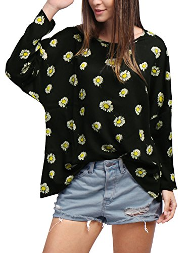 allegra-k-women-round-neck-dolman-sleeves-floral-print-loose-top-xl-black