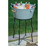 Galvanized Chill Tub 9.25 Gallon Party Bucket Set with Flared Leg Stand Beverage Server