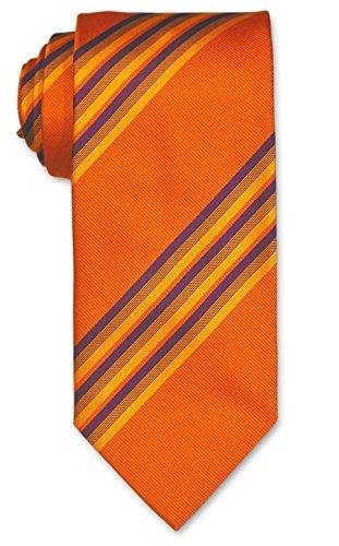 Orange Krawatte mit gelb-lila Streifen