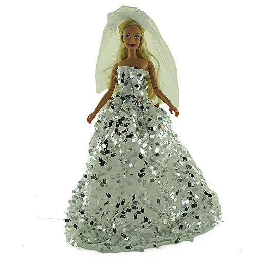 co2CREA(TM) Brand New Silver Wedding Gown Fashion Clothes Dresses Mini Cute Outfit for 29cm Barbie Doll (11 1/2 inch scale 1:6) Great Xmas gift kids - 1