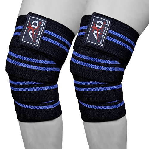 ARD Power Lifter Weight Lifting Knee Wraps Supports Gym Training Fist Straps Black with Blue Stripes (Power Lifter Leg Wraps compare prices)