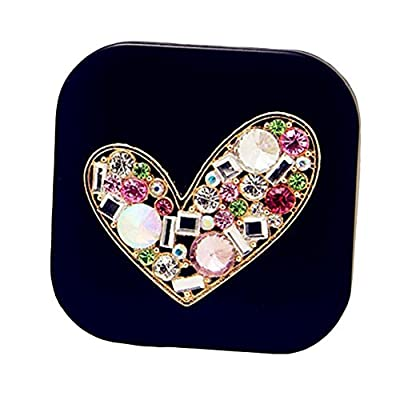 Colorful Diamond Heart Contact Lens Case Personal Eye Care Glasses Holder-Black