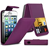 G4GADGET� Apple iPhone 5/5S White Flip Wallet PU Leather Case Cover with Two Card slots For Apple iPhone 5/5S (Purple, iPhone 5/5S)