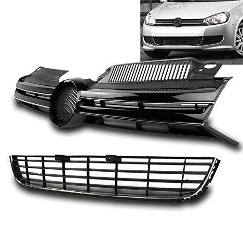 ZMAUTOPARTS VW Golf/ Jetta MK6 ABS Front Upper Hood+Bumper Lower Grille Insert Black (2012 Jetta Front Emblem compare prices)