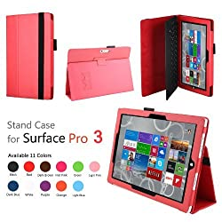 Elsse (TM) Premium Folio Case with Stand for Microsoft Surface Pro 3 (Keyboard and Tablet NOT included) (Surface Pro 3, Red)