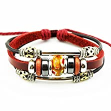 buy Real Spark Red Leather Metal Tube Rope Flower Beads Multilayer Wrap Bracelet