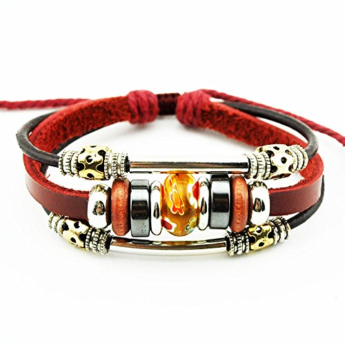 Real Spark Wine Red Fashion Silver Tone Tube Flowewrs Bead Adjustable Length Single Wrap Bracelet (Orange)