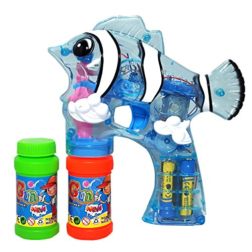 Haktoys (New Edition) 1800F Cartoon Fish Bubble Shooter Gun Transparent with LED Lights (NO Sound), 3 x AA Batteries, and Extra Bottle - Colors May Vary (Fish Bubbles compare prices)