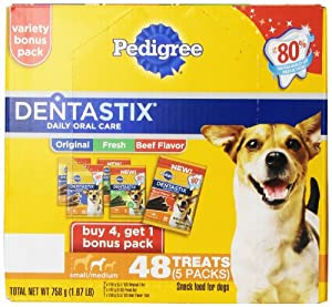 Pedigree Dentastix 48 Count Oral Care Treats for Dogs, Small/Medium, Original/Fresh/Beef