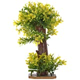Veena Artificial Plastic Yellow Tinged Leaves Bonsai Plant with Multiple Small Leaves (30 cms, Green)