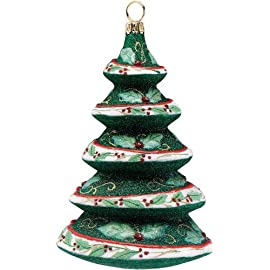 Glitterazzi Holly Berry Tree Glass Christmas Ornament by Joy To The World Collectibles - 4.5