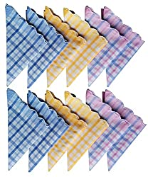Women handkerchiefs soft cotton fabric Checkered multicolored face napkin