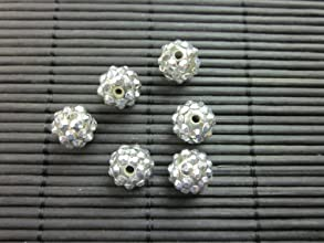 12mm Rhinestone Bead Silver 20 Pieces