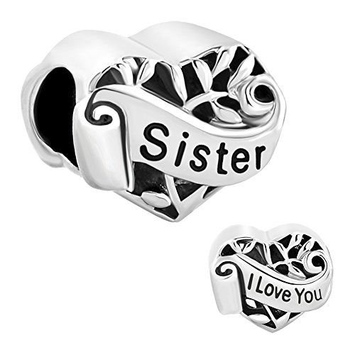 Fit Pandora Charms Silver Plated I Love You Sister Heart Filigree Charm, 4.8-5mm (Pandora Amazon compare prices)