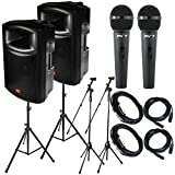 """Package Bundle: 2x EMB EB115BT Pro 15"""" 2-way 1200W Bluetooth Powered Speaker +2x Speaker Stands + 2x Peavey PV7 Dynamic Cardiod Microphones With Cables + 2 Microphone Stand + 2 XLR Xlarge Calbles"""