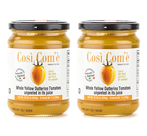 Così Com'è - Italian Whole Yellow Datteerino Tomatoes Unpeeled in Tomato Juice, Each Jar 12oz (350g) / Drained 7.4oz (210g) - Pack of 2 (Tomato Puree Concentrate compare prices)