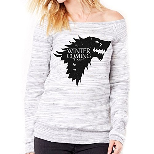 Felpa Fashion WINTER IS COMING STARK GAME OF THRONES - FILM by Mush Dress Your Style - Donna-M-Grigio marmorizzato