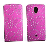 Luxus Flipcase Handy Tasche f�r Sony Xperia T / LT30p Mint Pink Glitzer Bling Schutz H�lle Etui Bag Cover Flip Style Case Leder Klapptasche NEU