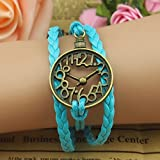 Clock Hand-knitted leather cord hand multilayer belt wax rope bracelet