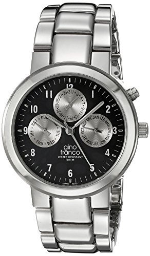 gino franco Men's 921BK Round Stainless Steel Multi-Function Bracelet Watch
