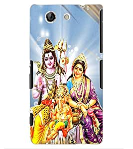 ColourCraft Lords Shiva Parvati and Ganesha Design Back Case Cover for SONY XPERIA Z4 MINI / COMPACT