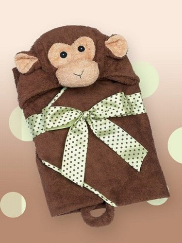 Bearington Baby 24'' Wee GIGGLES Monkey Hooded Towel ~NEW~