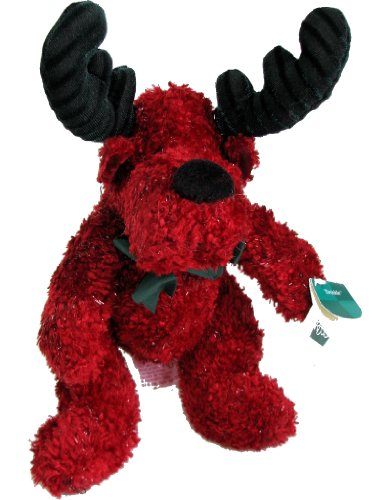 Twinkle Red Chenille Plush Holiday Moose Stuffed Toy
