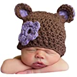 Melondipity Girl Sugar Plum Bear Crochet Baby Hat - Brown Beanie Purple Flower