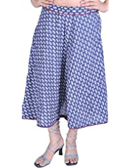 Exotic India Coronet-Blue Wrap-On Printed Skirt With Piping - Blue