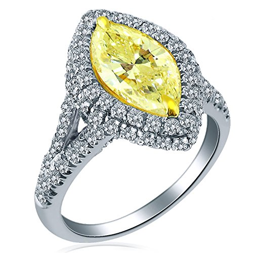Marquise Cut 2.72 Carat Natural Fancy Yellow Diamond Engagement Ring 18K White Gold Split Shank