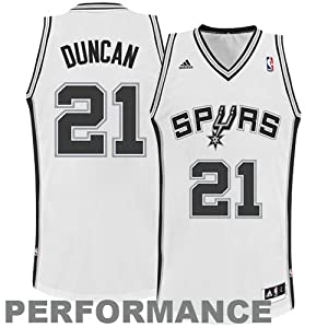 NBA San Antonio Spurs White Swingman Jersey Tim Duncan #21 by adidas