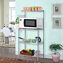 LANGRIA 3-Tier Kitchen Microwave Oven Baker's Rack with Shelves, 132 lbs Capacity, Silver