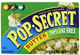Pop Secret 94% Fat Free, Butter Flavor, Microwavable Popcorn, 3-Count, 3-Ounce Bags (Pack of 6)