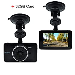 OldShark 170 Degree Wide Angle 3-inch Dash Camera 1080P Car DVR Recorder
