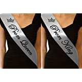 SILVER PROM QUEEN SASH & SILVER PROM KING SASH SET LEAVERS DO GRADUATION HOMECOMING EDS