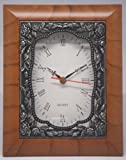 35 Quartz Clock - Brown Mahogany - Roses