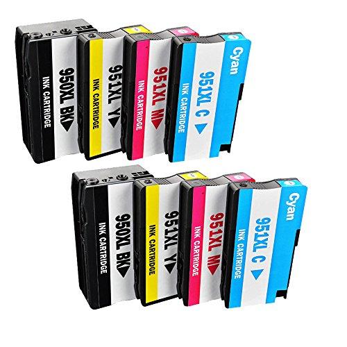 Oyat® 8 Pack (2 Set) HP 950XL 951XL Tintenpatronen mit Chip kompatibel für HP Officejet Pro 8600 8100e 8610 8620 8630 8640 8860 8100 8660 8625 8615 251dw 276dw Drucker (2 Schwarz,2 Cyan,2 Magenta,2 Gelb)