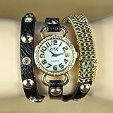 Handcuffs Fancy Rhinestone Ladies Watch Gift For Her Women Long Black Leather Strap
