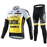サイクルジャージ サイクルウェア 2016 上下セット メンズ 長袖 秋冬用  薄手 自転車ウェア サイクリングウェア (XL, LOTTO)