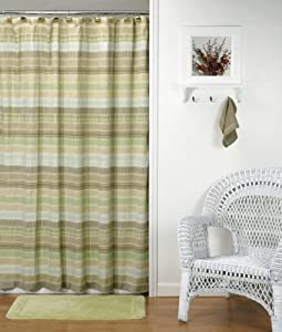 Sage Green Tan Brown Earth Tones Striped CRINKLE FABRIC SHOWER C