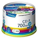 三菱化学メディア Verbatim CD-R(Data) 1回記録用 700MB 48倍速 スピンドルケース 50枚 シルバーディスク SR80FC50V1