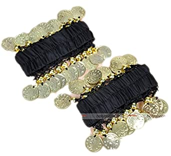 Dreamspell a Pair of Chiffon Belly Dance Hanging Coins Bracelet, Best Costumes Props