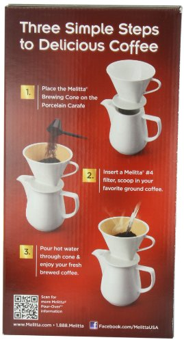 Melitta Coffee Maker, Porcelain 6 Cup Pour- Over Brewer Home Garden Kitchen Dining Barware Decanters