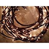 Amazing Finds 8ft LED Lighted Twig Vine 144 LED Warm White Lights. Lighted Willow Vine Branches (Brown) (Color: Willow)