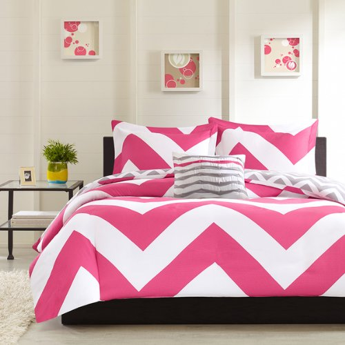 Superb Adorable pc Pink Gray and White Reversible Chevron Comforter Set