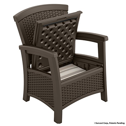 Patio Chair Storage fortable Seating Outdoor Furniture Wicker Resin Durabl