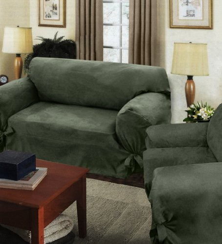 Picture of Melrose Home Collections Villa-suede Wrap Slip Loveseat 60-73