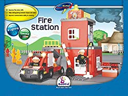 Building Blocks, Fire Station. Battery Operated Fire Engine Truck with Lights and Sound
