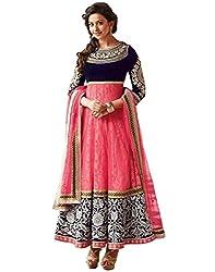 Look n Buy pink net Anarkali Dress Material (H154_pink_Free size)