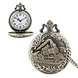Vintage Pocket Watch with Chain Retro Style DelicatedTimepiece Train Quartz Watch Perfect Gift